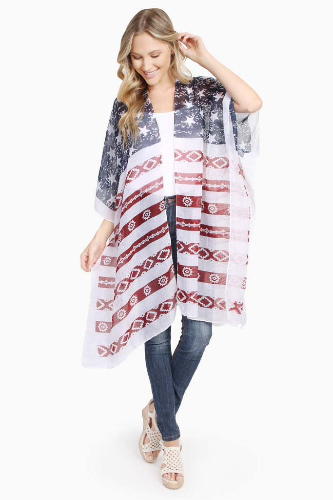Stars & Stripes Knee Length Open Front Kimono Cardigan