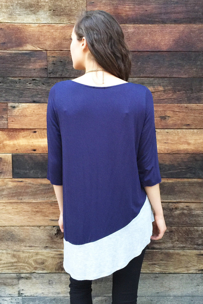 Purple Gray Asymmetrical Top