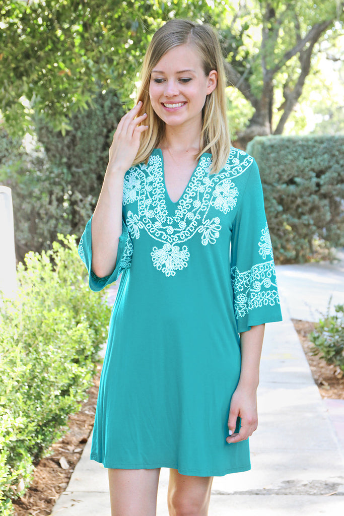 Embroidered V-Neck Tunic Dress