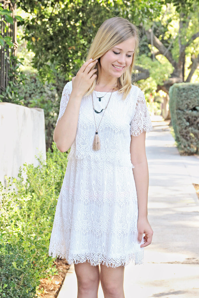 Short Sleeve A-Line Lace Dress