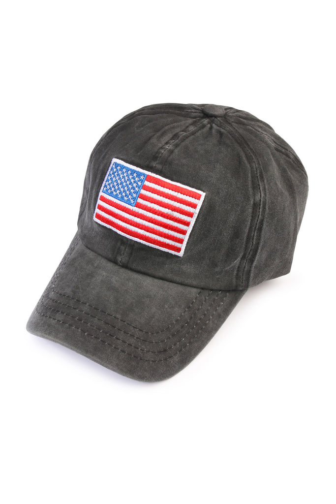 American Flag Embroidered Washed Cap