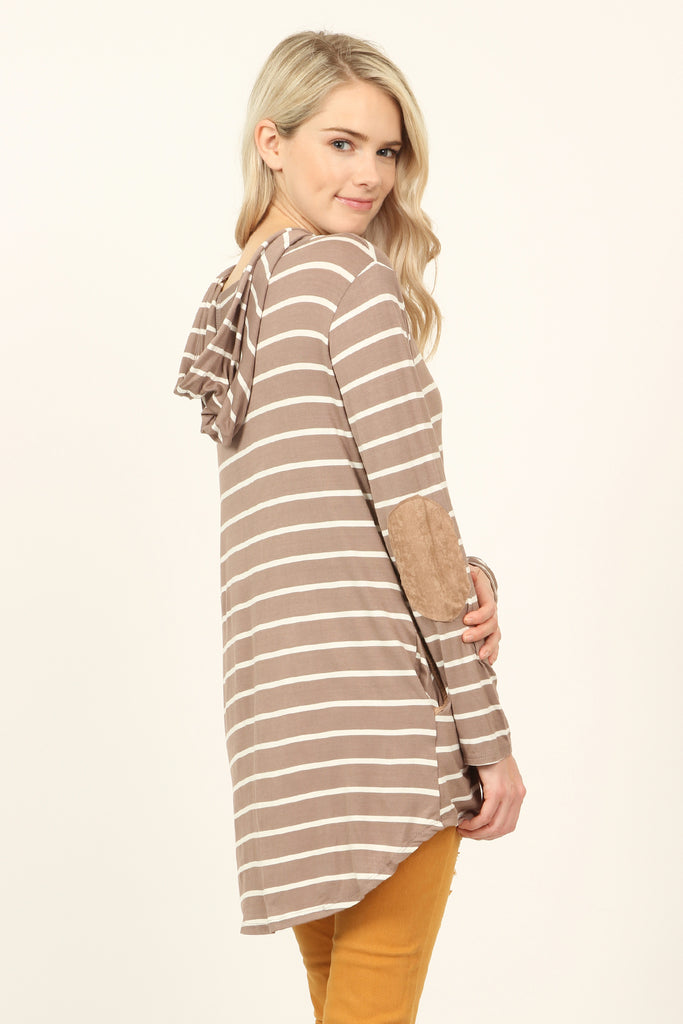 Elbow Detail Striped Hooded Top