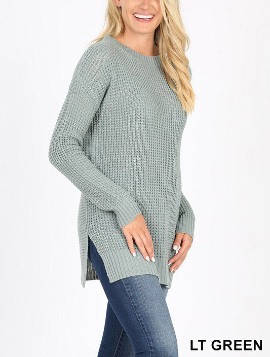 Long Sleeve Round Neck Waffle Sweater Side Slit