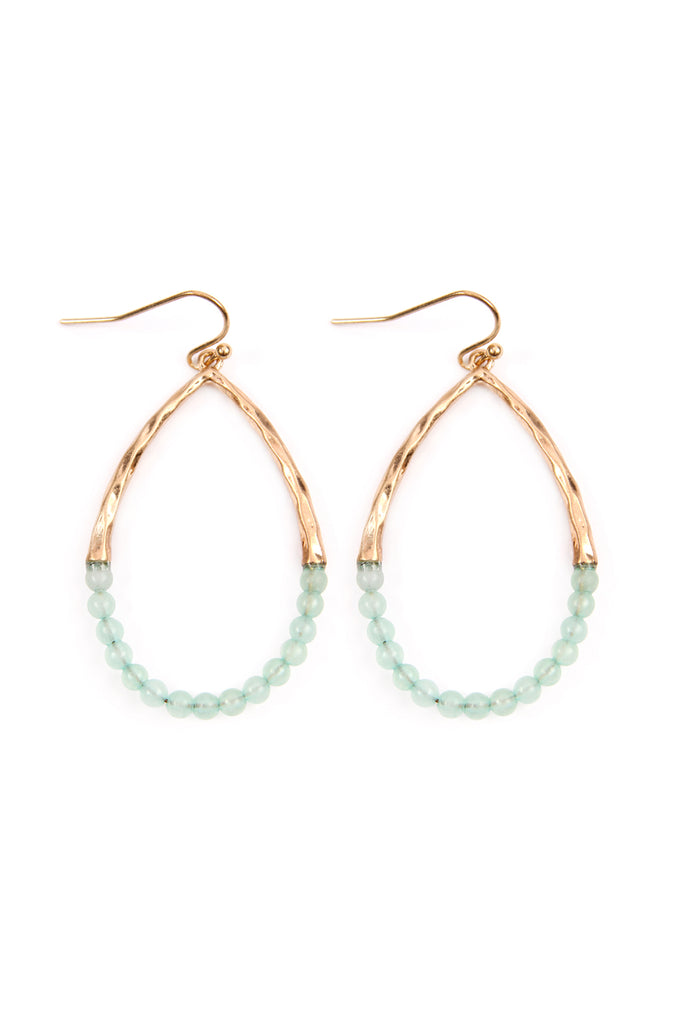 Half Beaded Pear Shape Earrings
