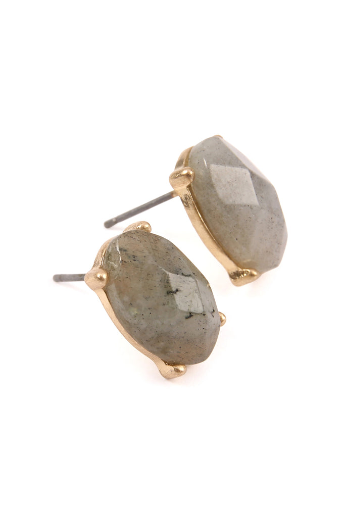 Oval Gem Cut Earrings