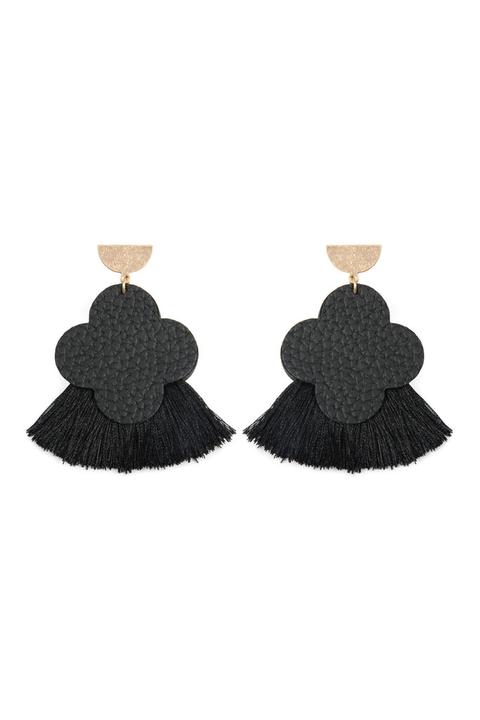 Quarterfoil Fan Tassel Earrings
