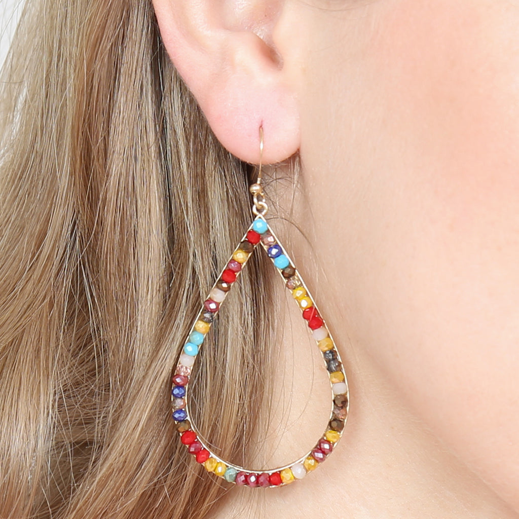 RONDELLE BEADS TEARDROP HOOK EARRINGS