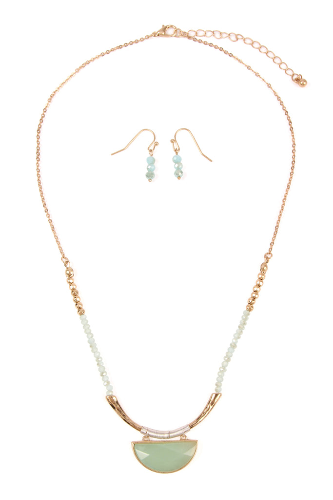 Classy Tribal Beaded Necklace and Earrings Set