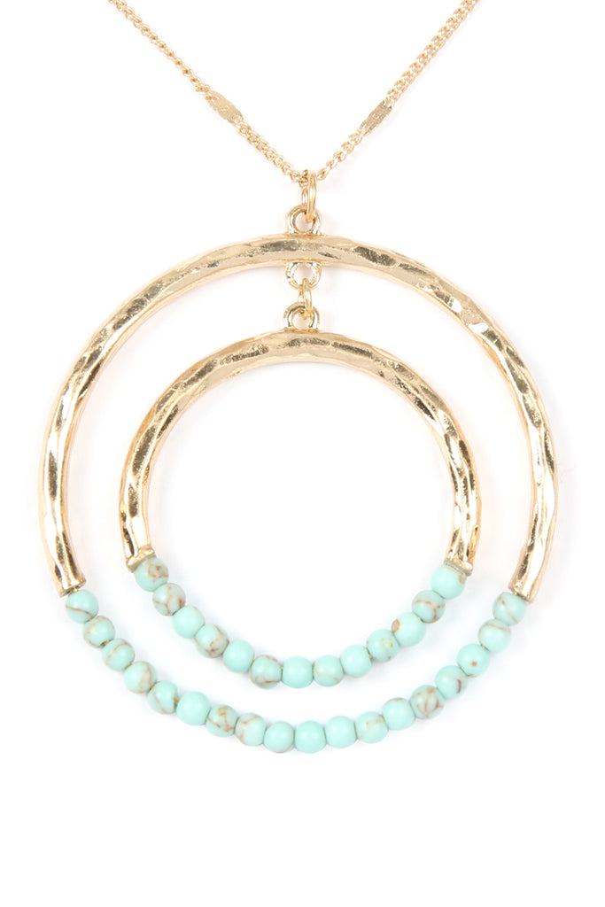 STONE BEADED DOUBLE HOOP PENDANT NECKLACE