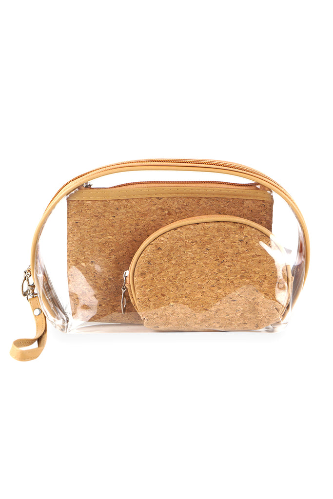MP0076 - CORK AND CLEAR 3PCS POUCHES