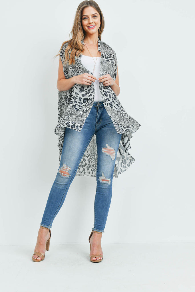 MS0115GR - GRAY MULTI ANIMAL PRINT VEST KIMONO