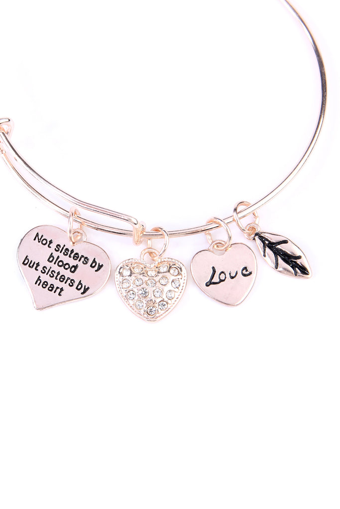 MYB1030 - SISTER'S LOVE HEART CHARM BANGLE BRACELET
