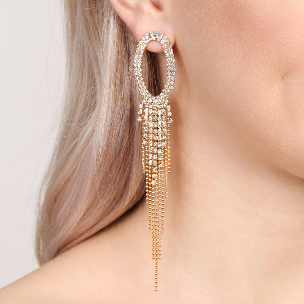 OVAL RHINESTONE TASSEL DROP EARRINGS