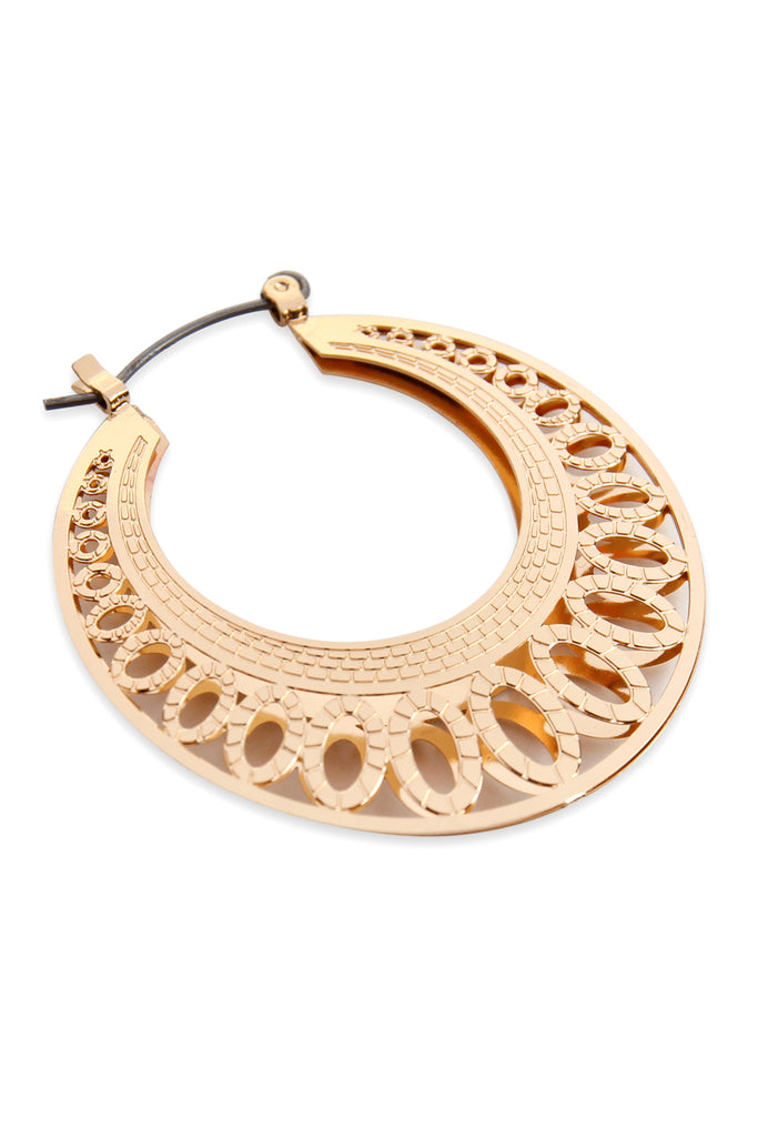 MYE1035 - CIRCULAR BLOCK CAST HINGE HOOP EARRINGS