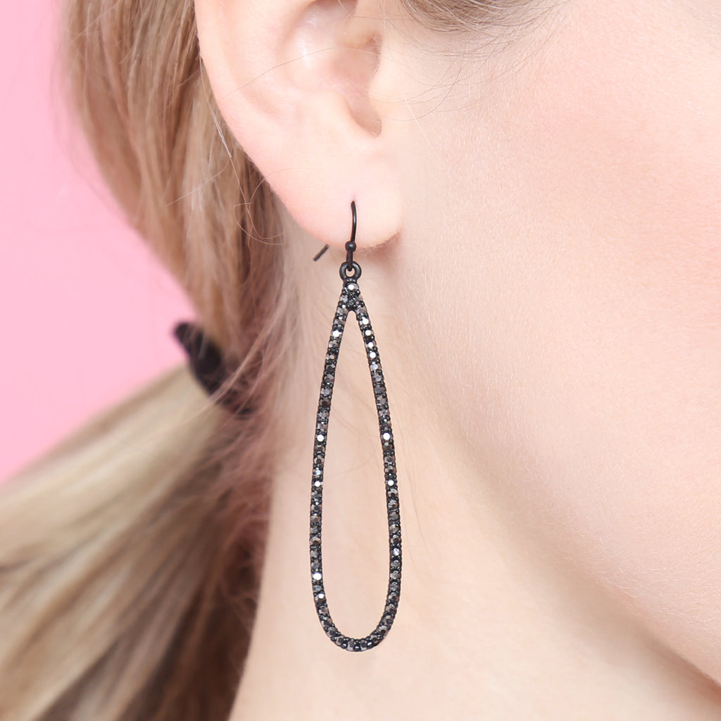 Long Teardrop Rhinestone Earrings