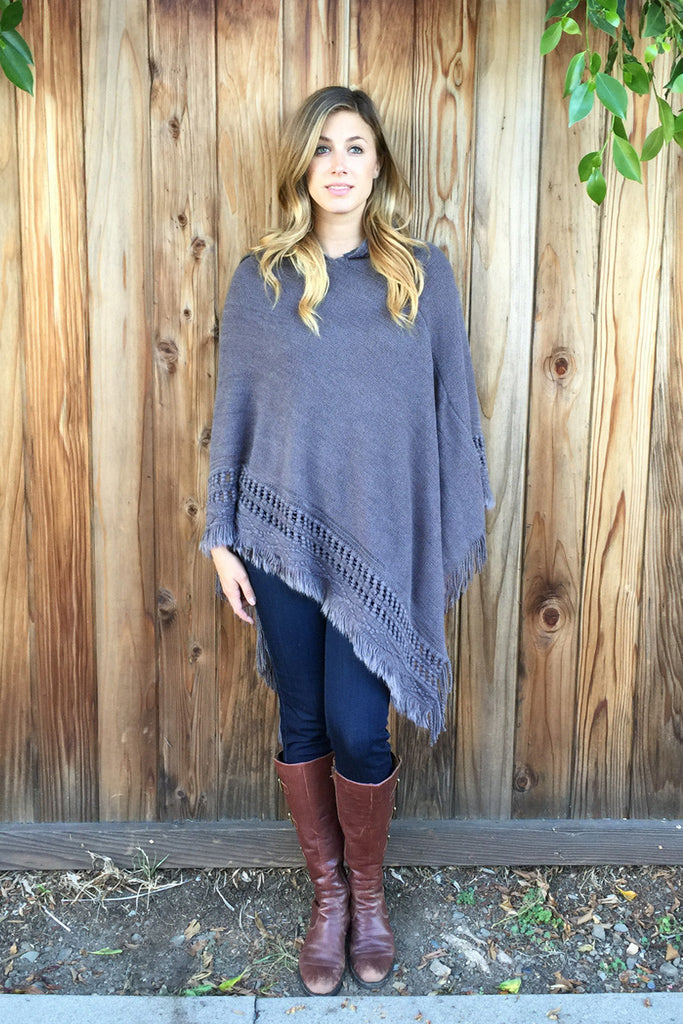 Hooded Knit Poncho