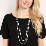 Pearl & Silvertone Layer Necklace