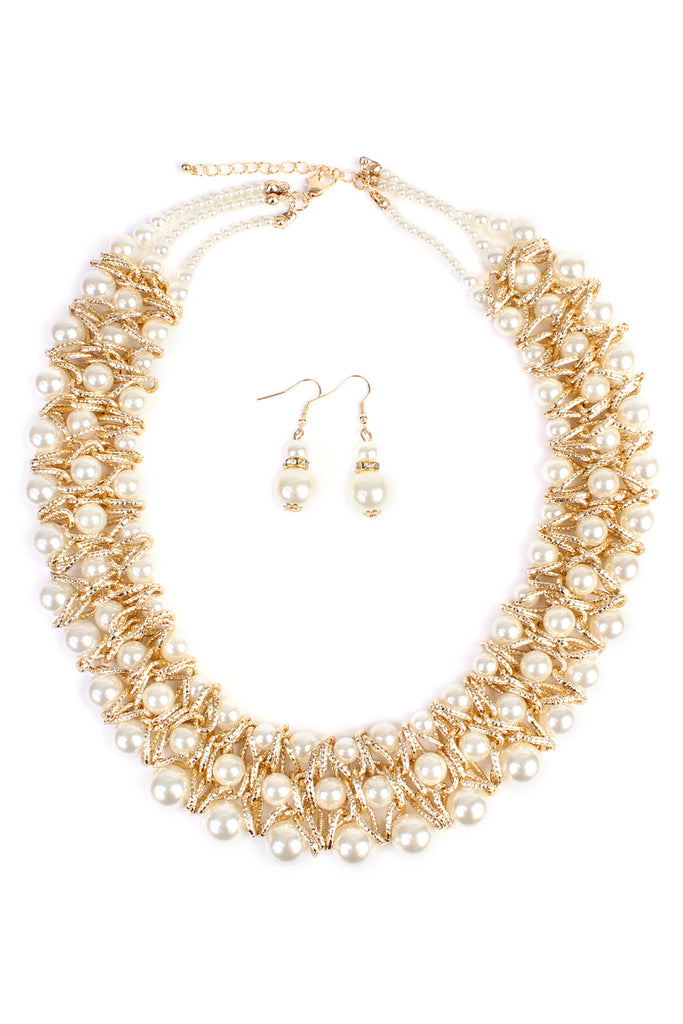 Pearl & Goldtone Twist Statement Necklace and Earring Set