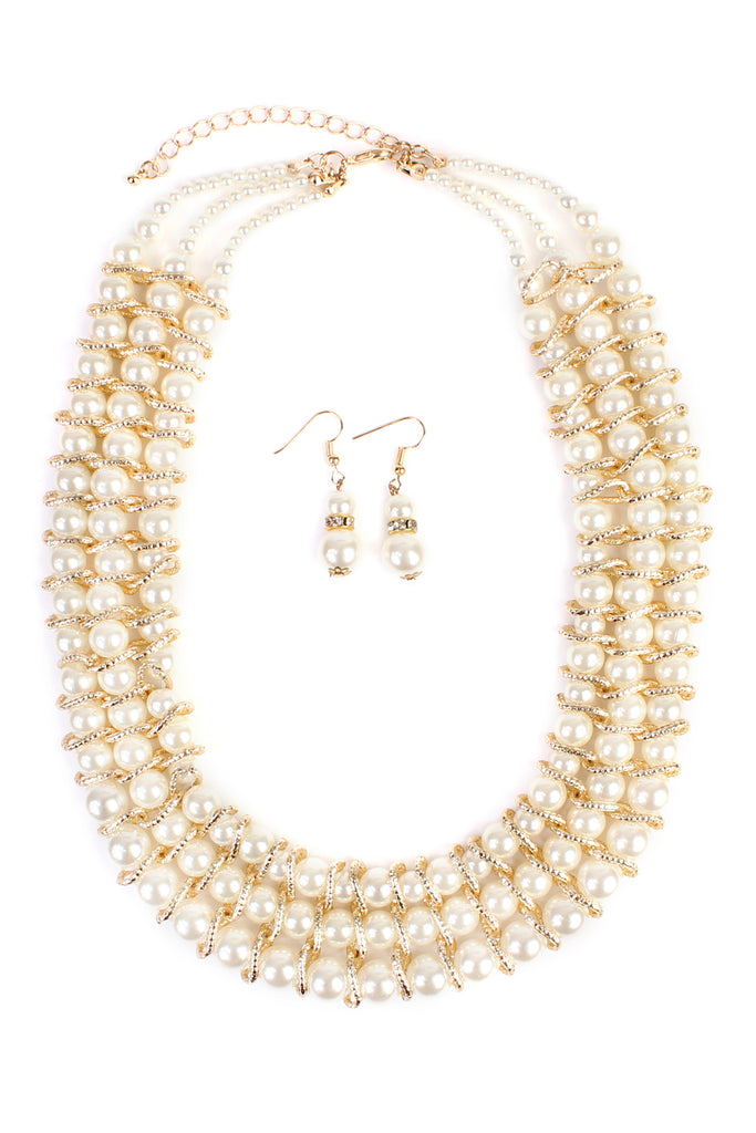 Pearl & Goldtone 3-Row Statement Necklace and Earring Set