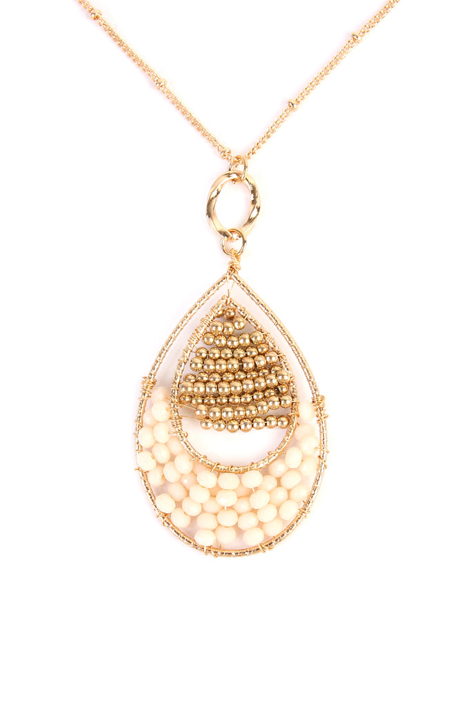 Teardrop Beaded Pendant Long line Necklace