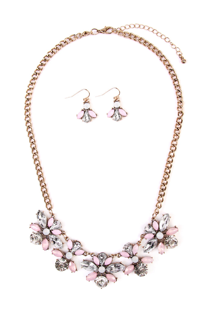 Pink & Goldtone Statement Necklace & Earring Set