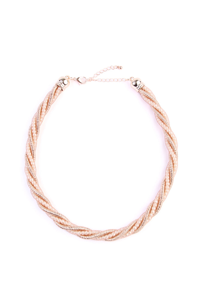 Beaded Rope Twisted Choker Necklace