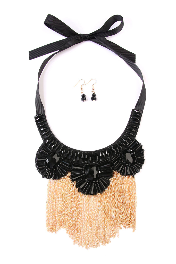 Chain Bib Necklace and Earring Set
