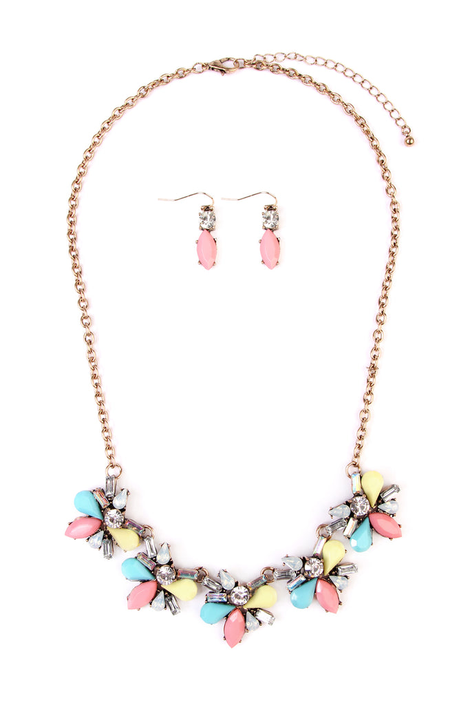 Multi-Color Statement Necklace & Earring Set