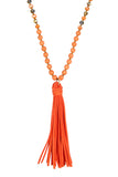 BEADED NECKLACE WITH LEATHER TASSEL