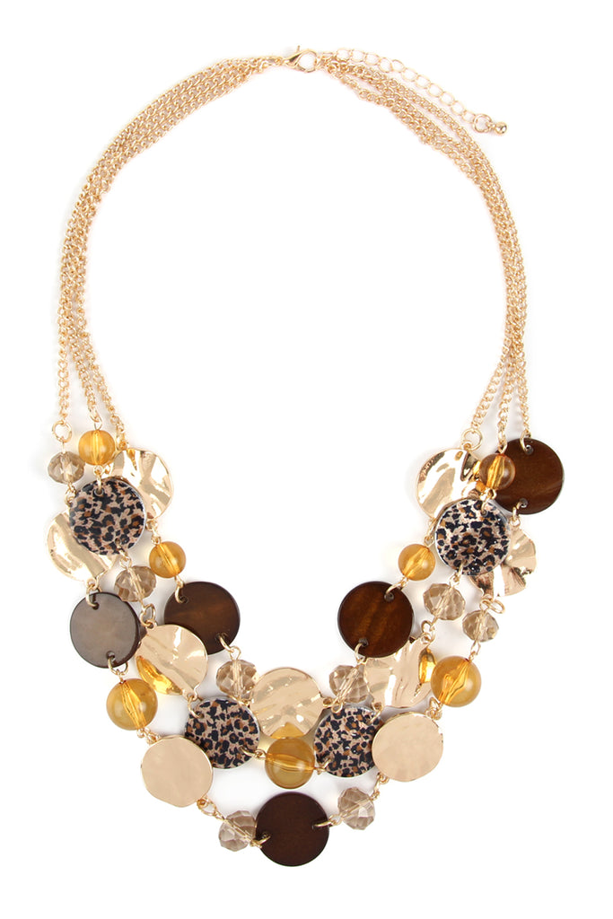 MYN1075 - MULTI LINE DISC STATEMENT NECKLACE
