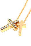 Double Cross Stone Necklace
