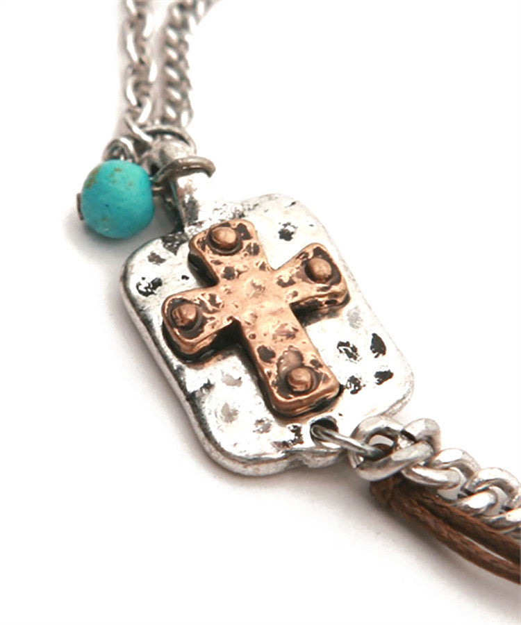 Hammered Cross Multi Chain Bracelet