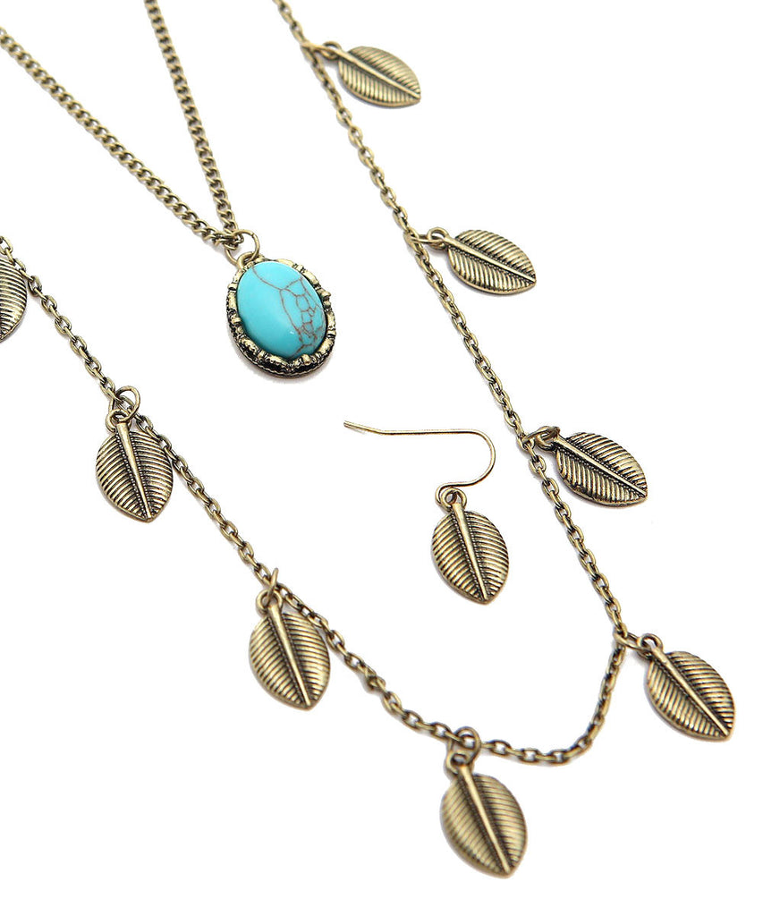 Double Layer Leaf Necklace Set
