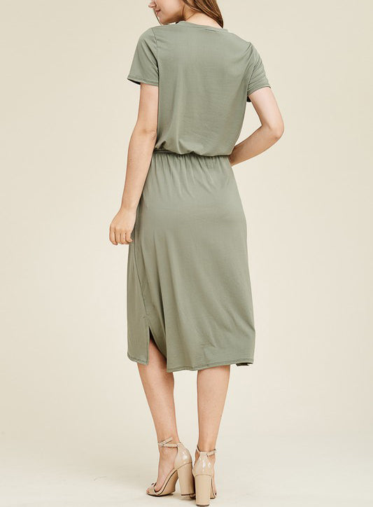 Short Sleeve Neck Band Solid Mid Dress