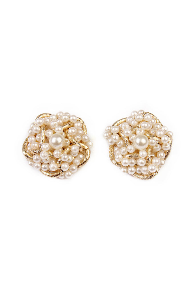 Pearl Oversize Clip On Stud Earrings