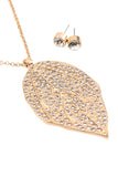 Leaf Rhinestone Necklace and Stud Earrings Set