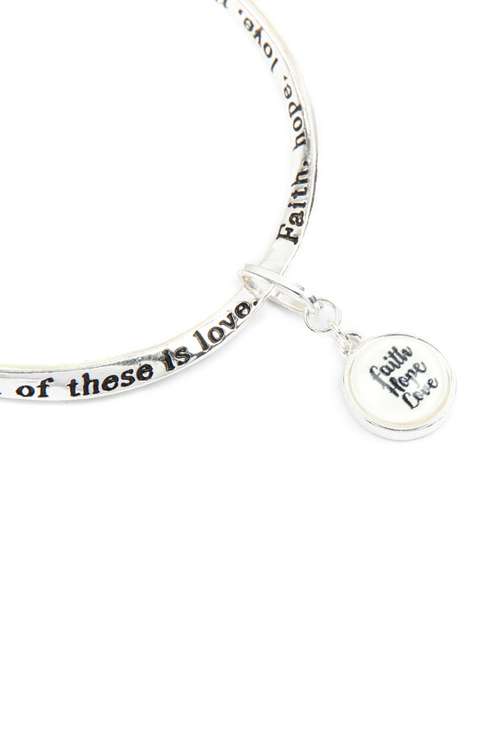 """Faith, Hope, Love"" Glass Bubble Charm Twist Bracelet"