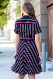 Asymmetrical Button Down Striped Tie-Waist Dress