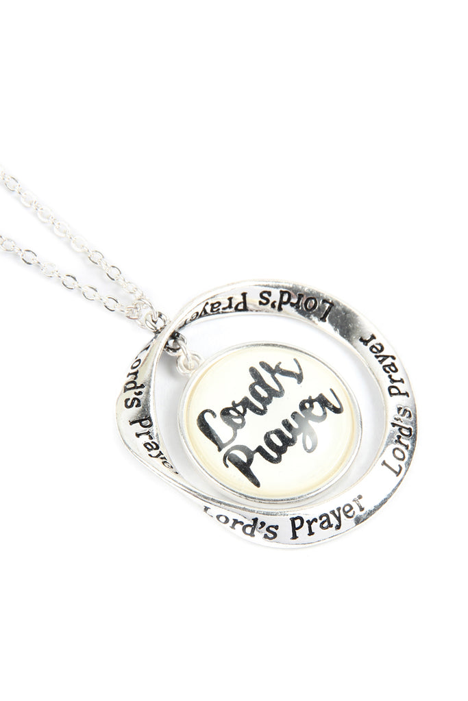 "ON2252 - ""LORD'S PRAYER"" GLASS BUBBLE TWIST HOOP PENDANT NECKLACE"