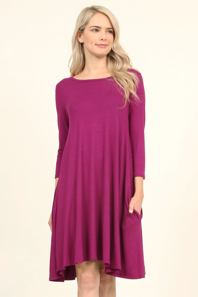 3/4 Sleeve Solid Pocket Dress