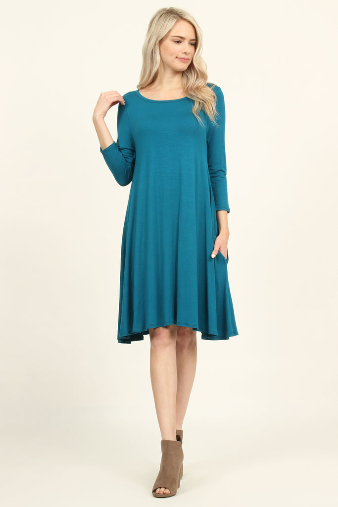 3/4 Sleeve Solid Pocket Dress - Riah Fashion