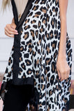 PN222X079 - SLEEVELESS LEOPARD PRINT LONG OPEN FRONT CARDIGAN