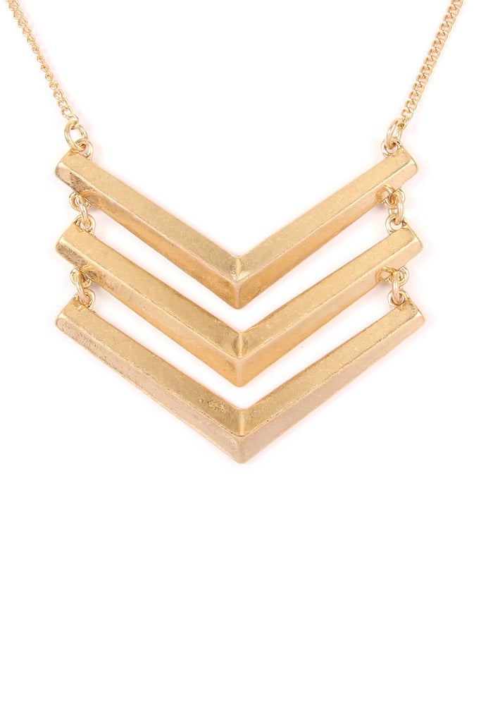 3 Line Chained Chevron Necklace