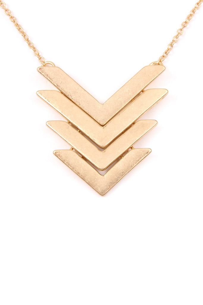 4 Line Tapered Chevron Pendant Necklace