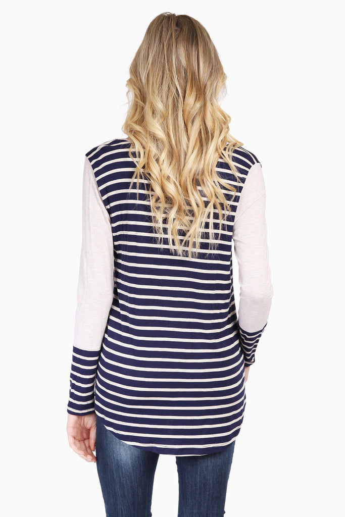 Contrast Sleeve Striped Top
