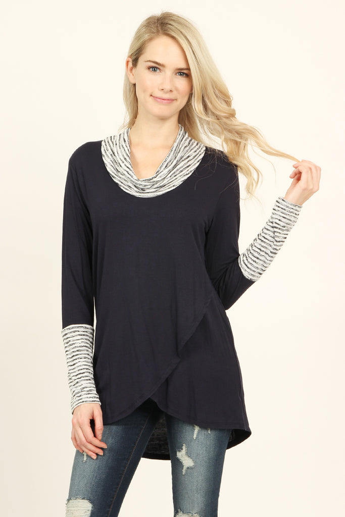 Striped Cowl Neck Overlap Tunic