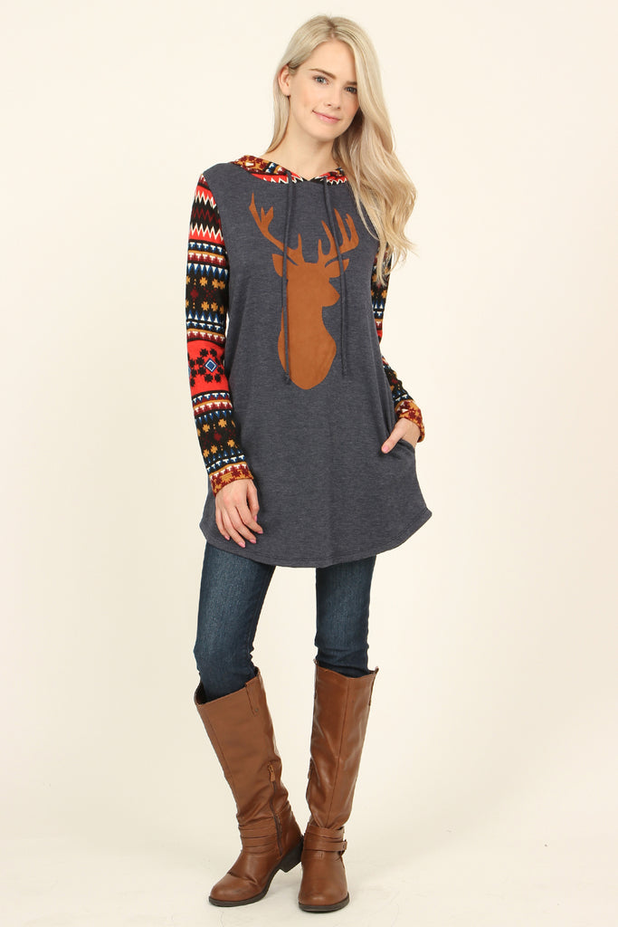 Suede Deer Patch Aztec Sleeve Pocket Hoodie