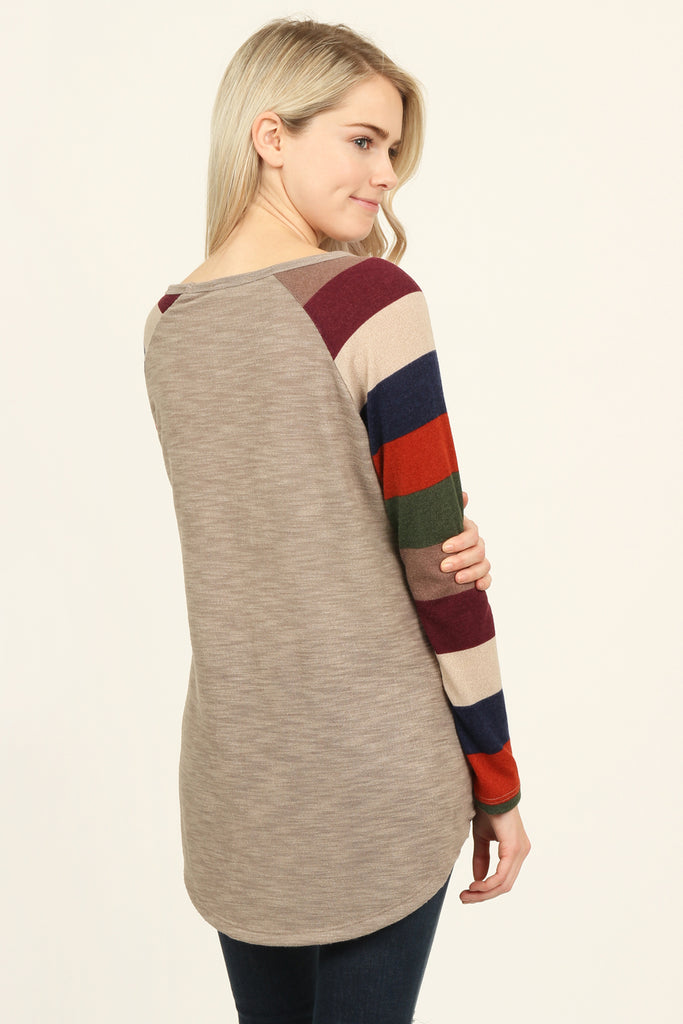 Sequin Pocket Striped Sleeve Tunic