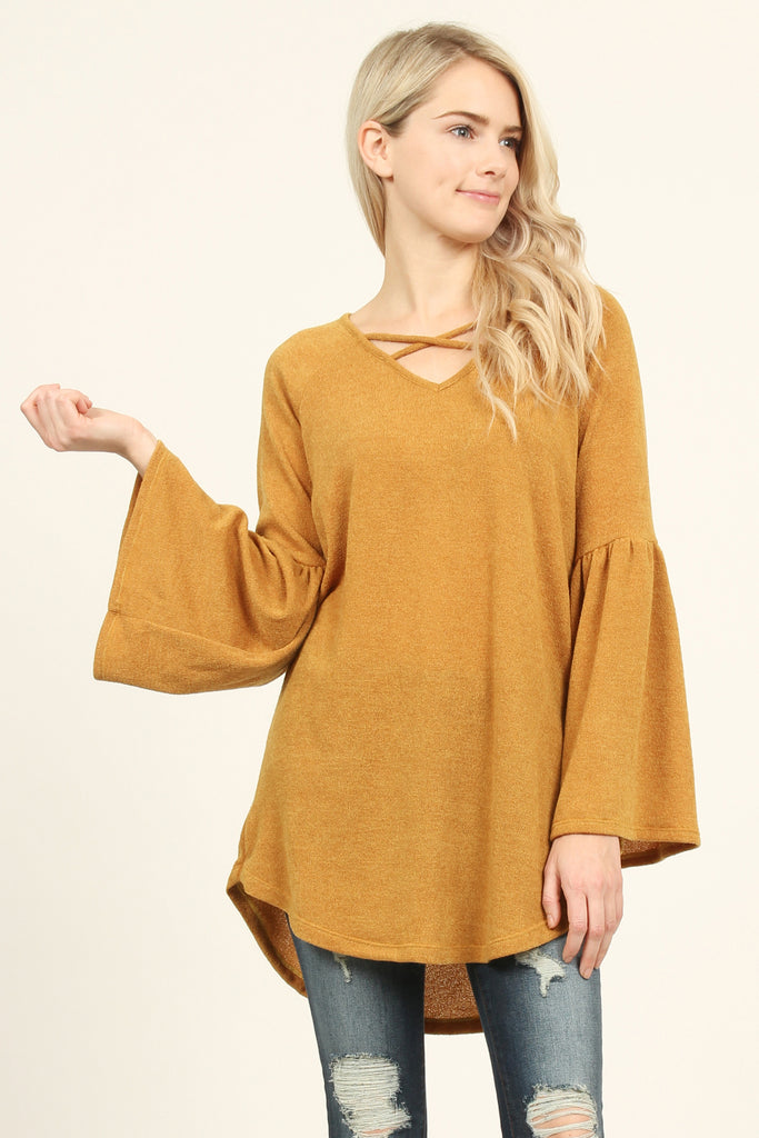 Bell Sleeves Criss Cross Hacci Tunic