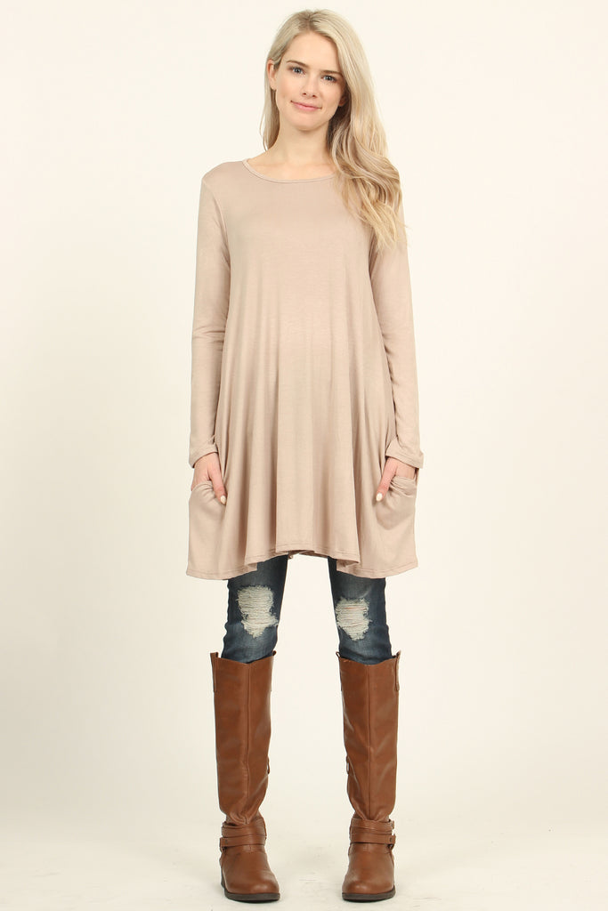 Long Sleeved Pocket Tunic Top